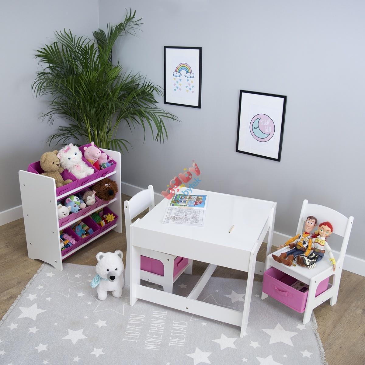 289c6af7d2f7 Ourbaby detský stôl so stoličkami s ružovými boxami - Detský stôl a ...