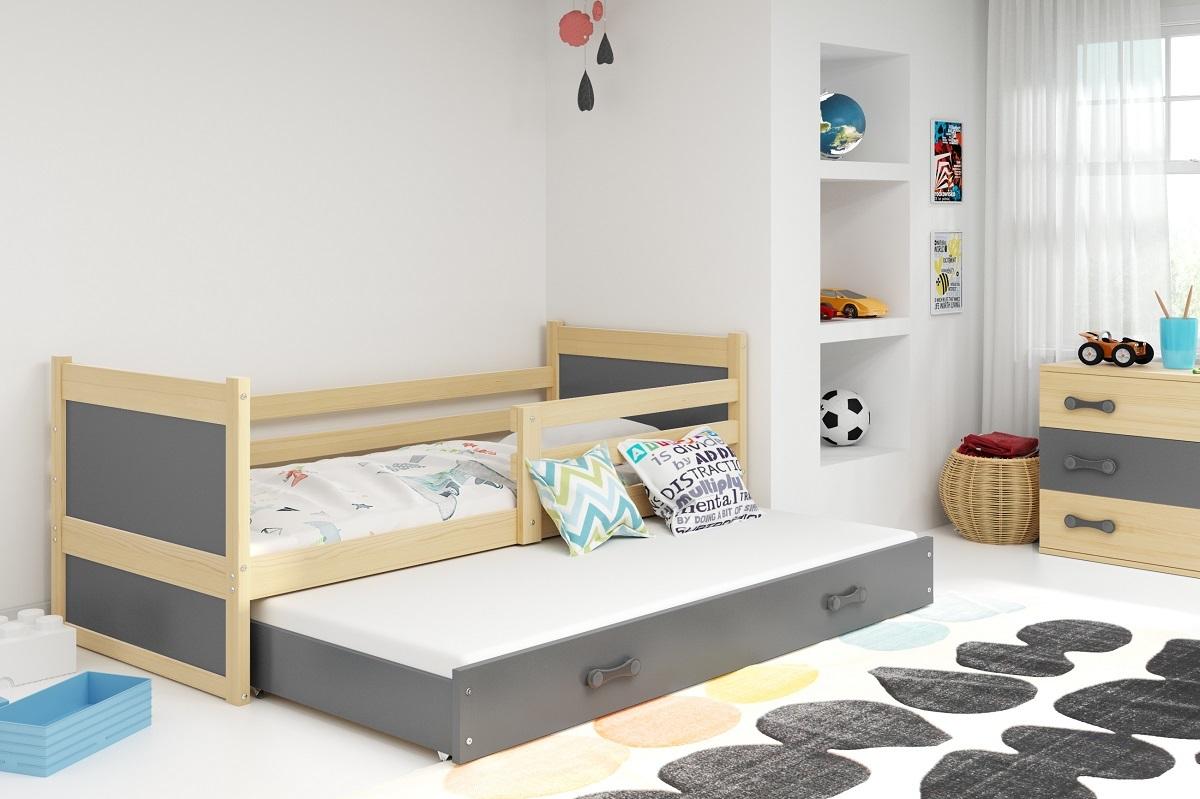 Detská posteľ s prístelkou Rocky - prírodná-šedá 190x80 cm