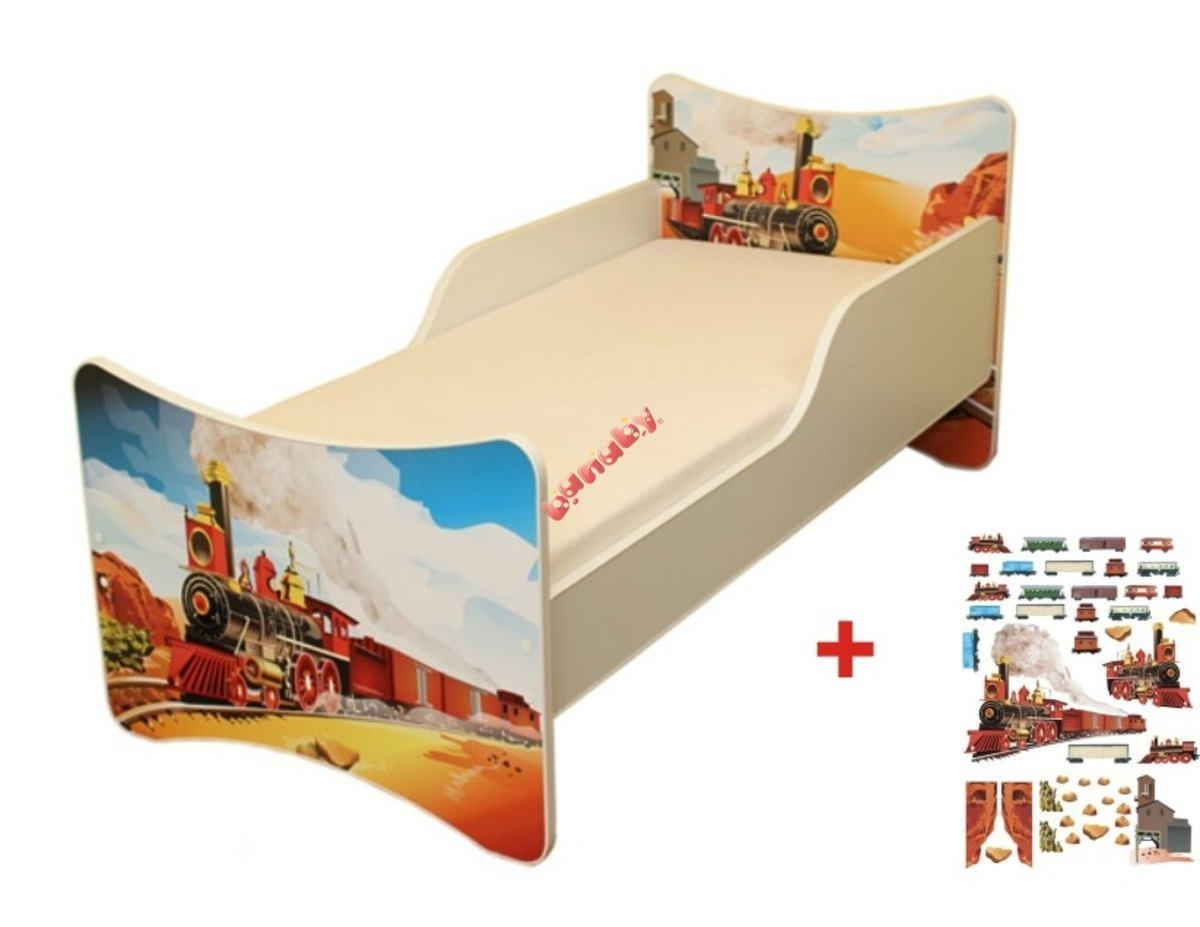 Detská posteľ - vláčik Little train 160x70 cm posteľ bez úložného priestoru