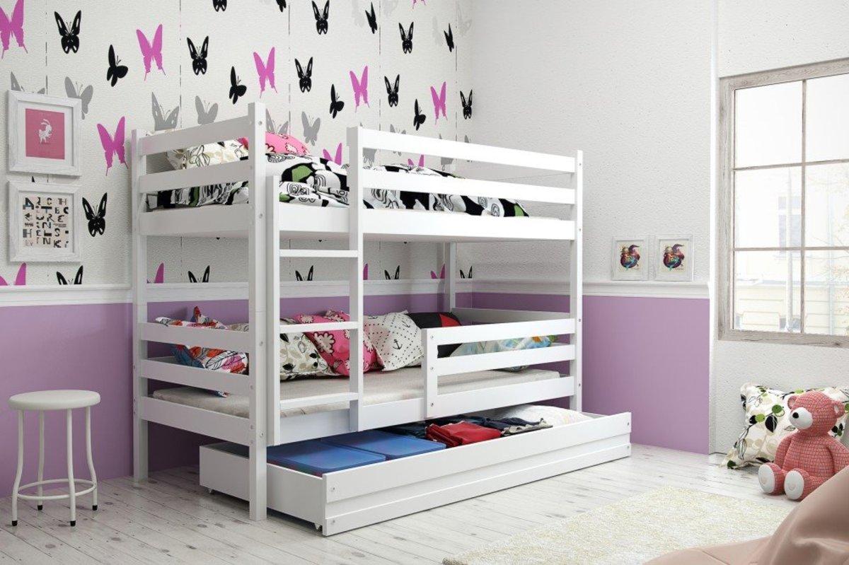 Detská poschodová posteľ Erika biela 200x90cm biela