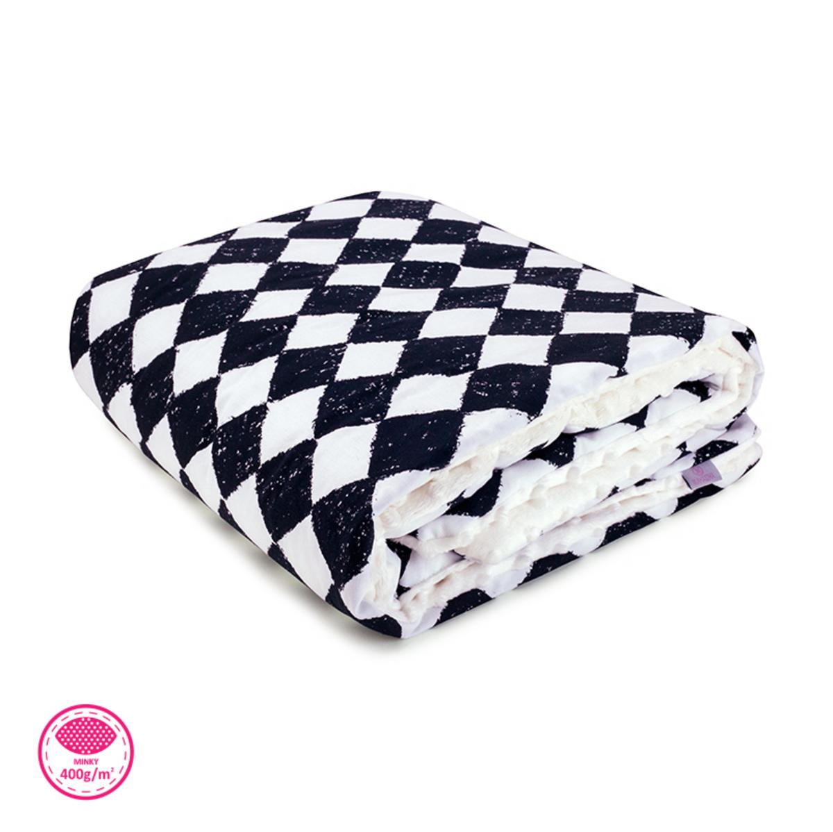 Zateplená detská deka - šachovnica čierna šachovnice
