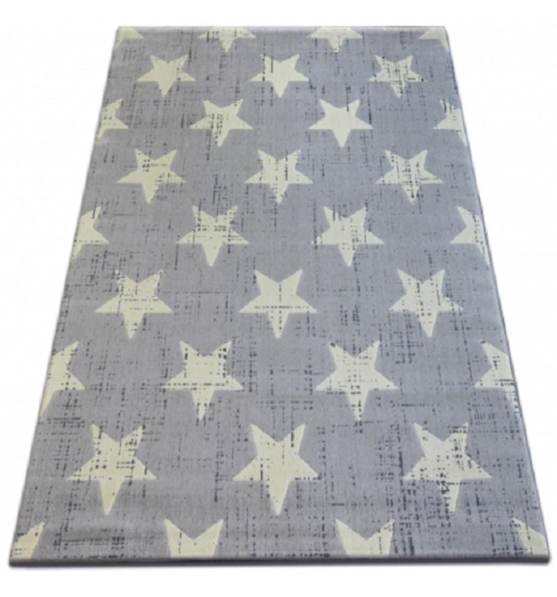 Detský koberec šedý - hviezdičky 140 x 200 cm