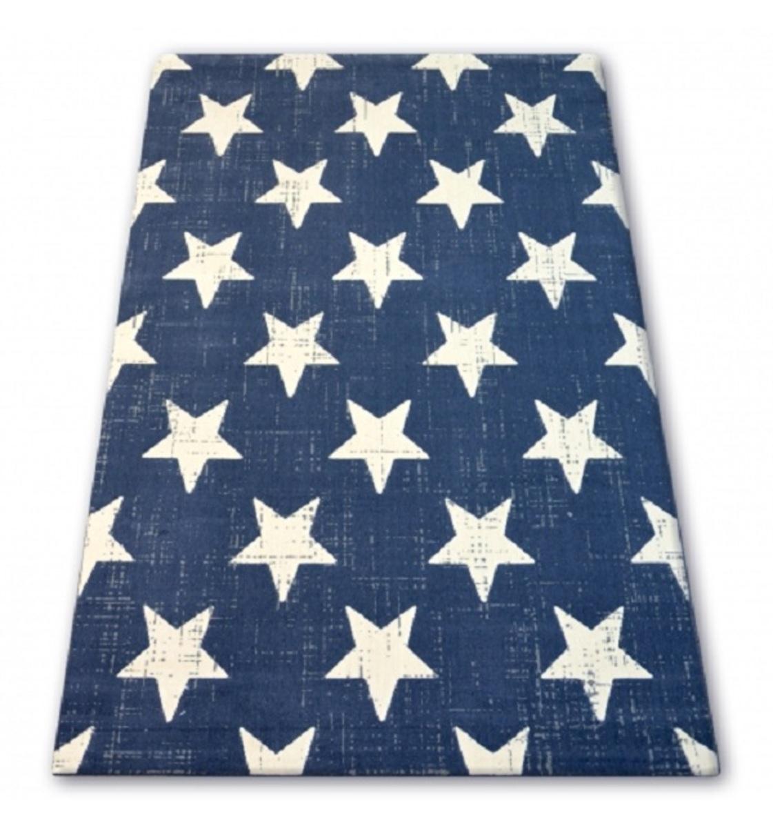 Detský koberec modrý - biele hviezdičky 140 x 200 cm
