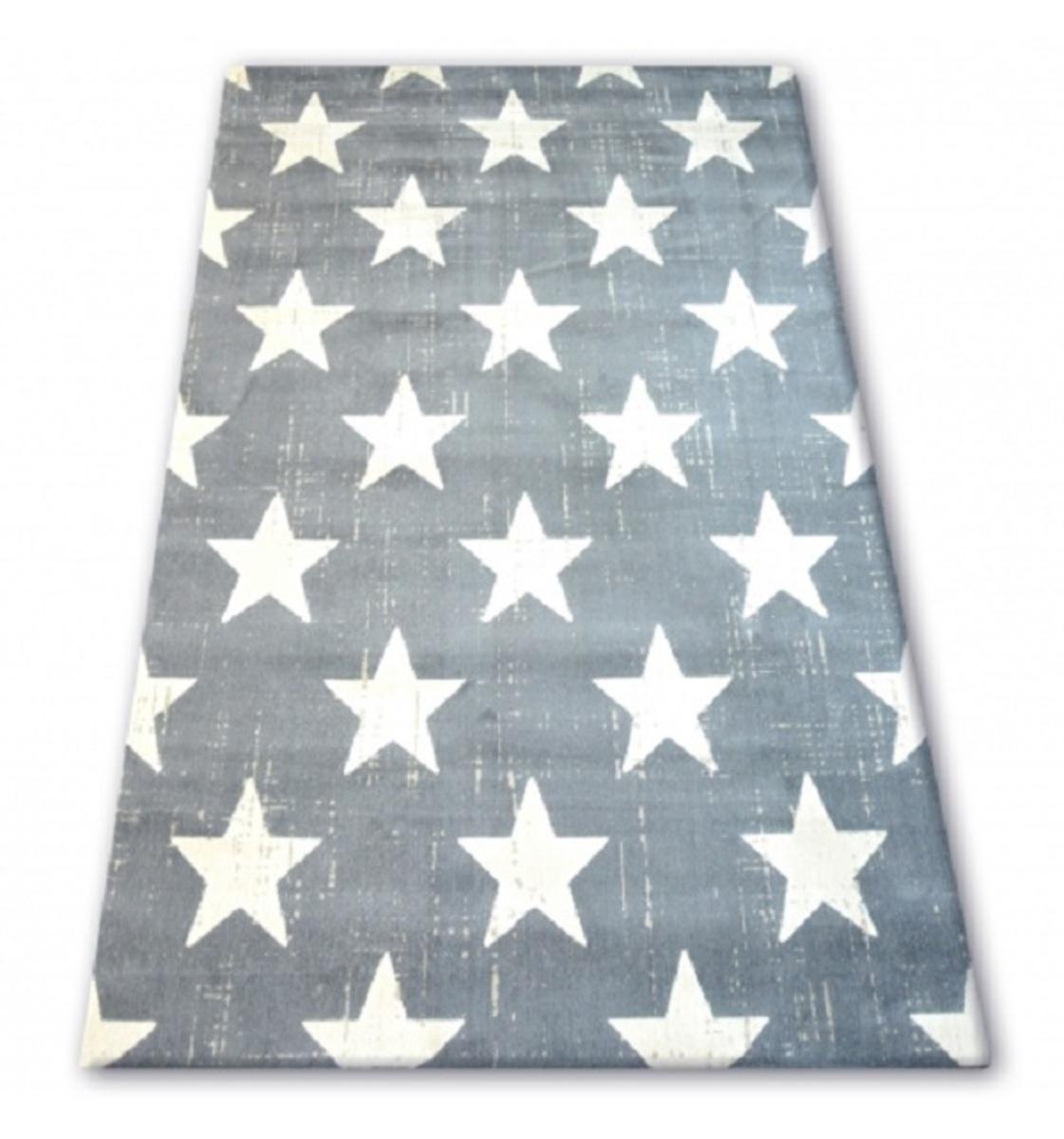 Detský koberec šedý - biele hviezdičky 140 x 200 cm