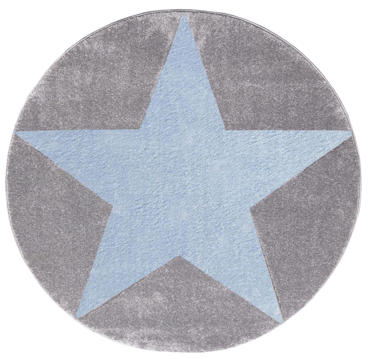 Detský koberec STAR striebro-šedo-modrý priemer 160 cm