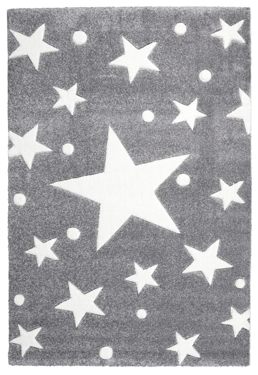 Detský koberec STARS strieborno-šedo-biely 120 x 180 cm