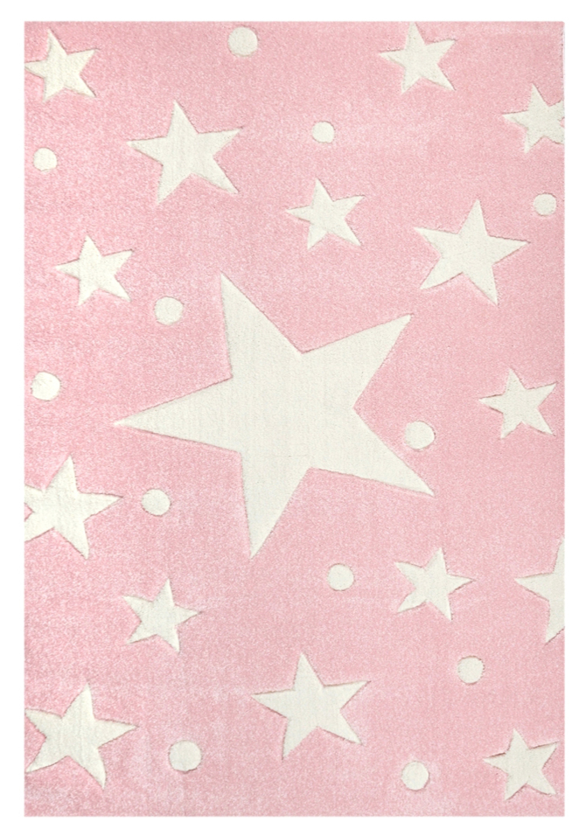 Detský koberec STARS ružovo-biely 120 x 180 cm