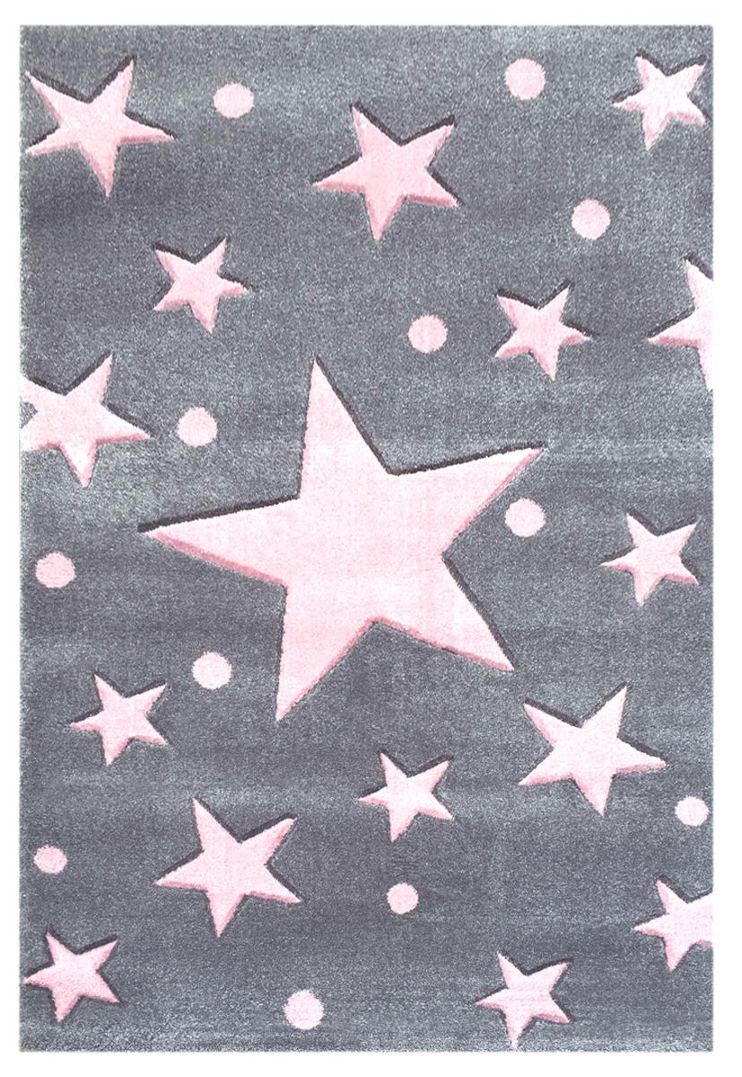 Detský koberec STARS strieborno-šedo-ružový 100 x 160 cm