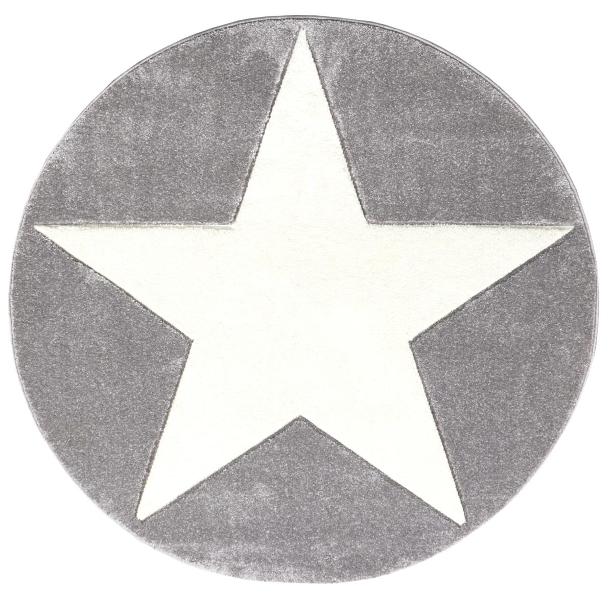 Detský koberec STARS strieborno-šedo-biely priemer 160 cm