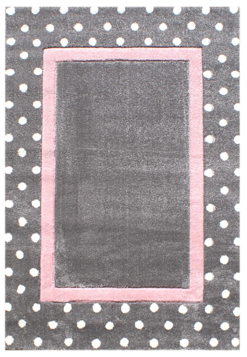 Detský koberec Bodky - striebro-šedo-ružový 160 x 230 cm