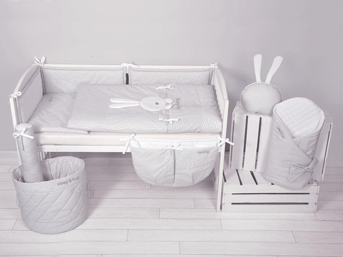 Detské 3-dielne obliečky sleep&hug - šedé 57x37 cm organizér