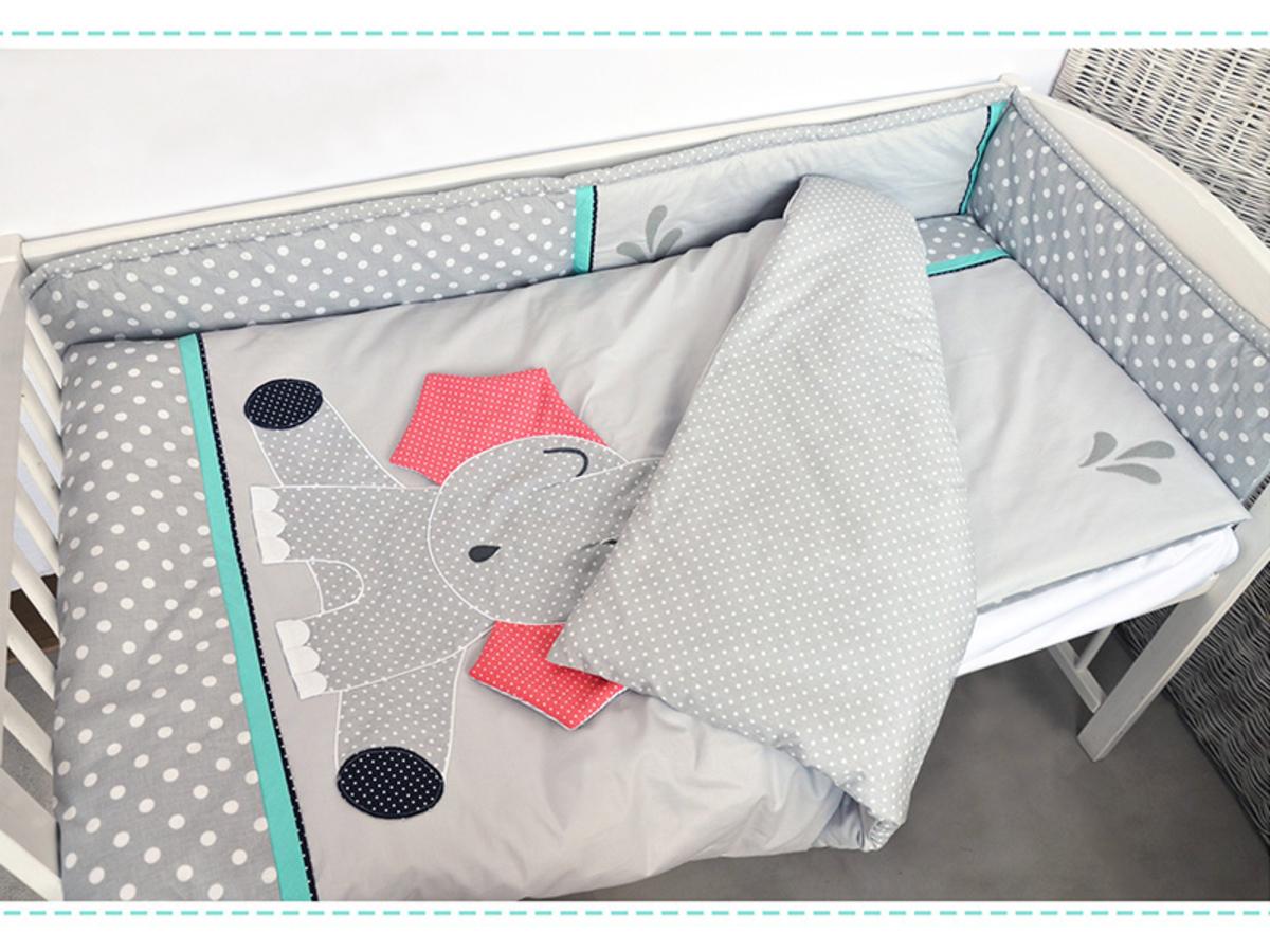 Detské 2-dielne obliečky - sloník - šedé 135x100 cm