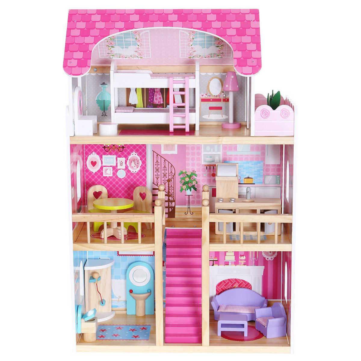 Drevený domček pre bábiky - ružová rezidencia