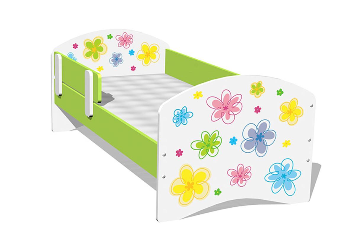 Detská posteľ - farebné kvietky Lompo 160x70 cm posteľ