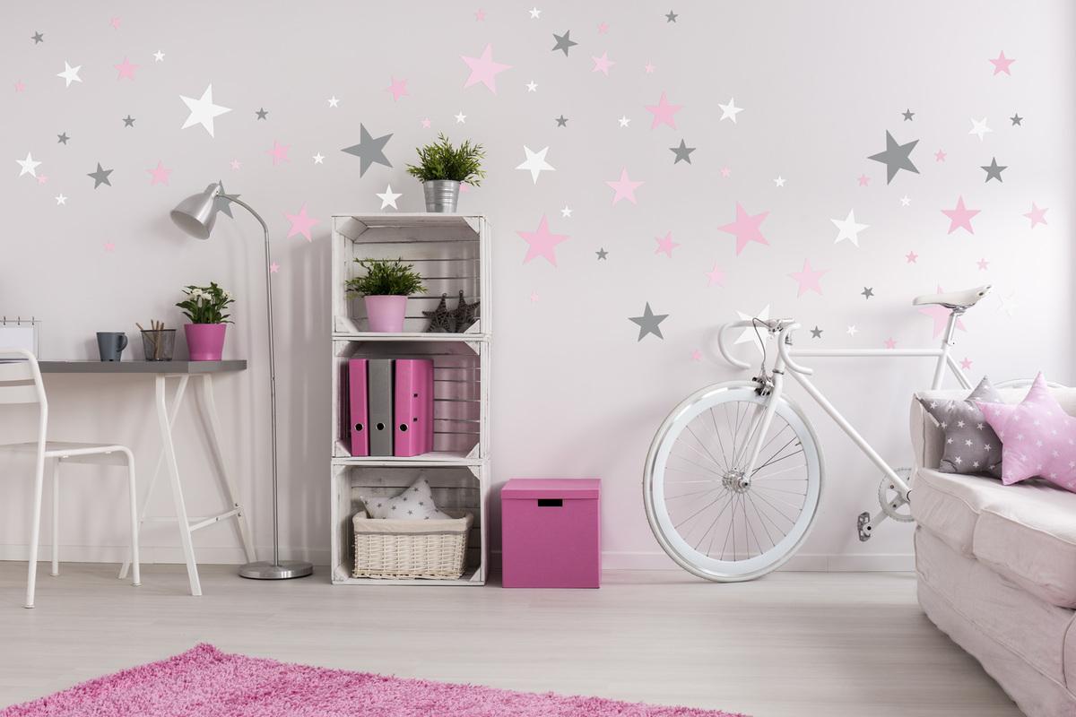 Dekorácia na stenu - sivé a ružové hviezdičky
