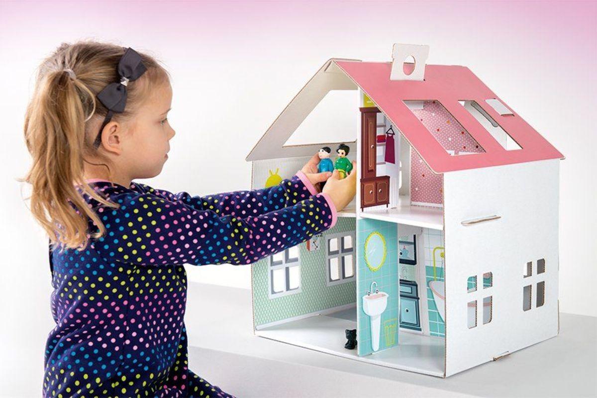 Detský kartónový domček pre bábiky 40 x 31 x 44 cm