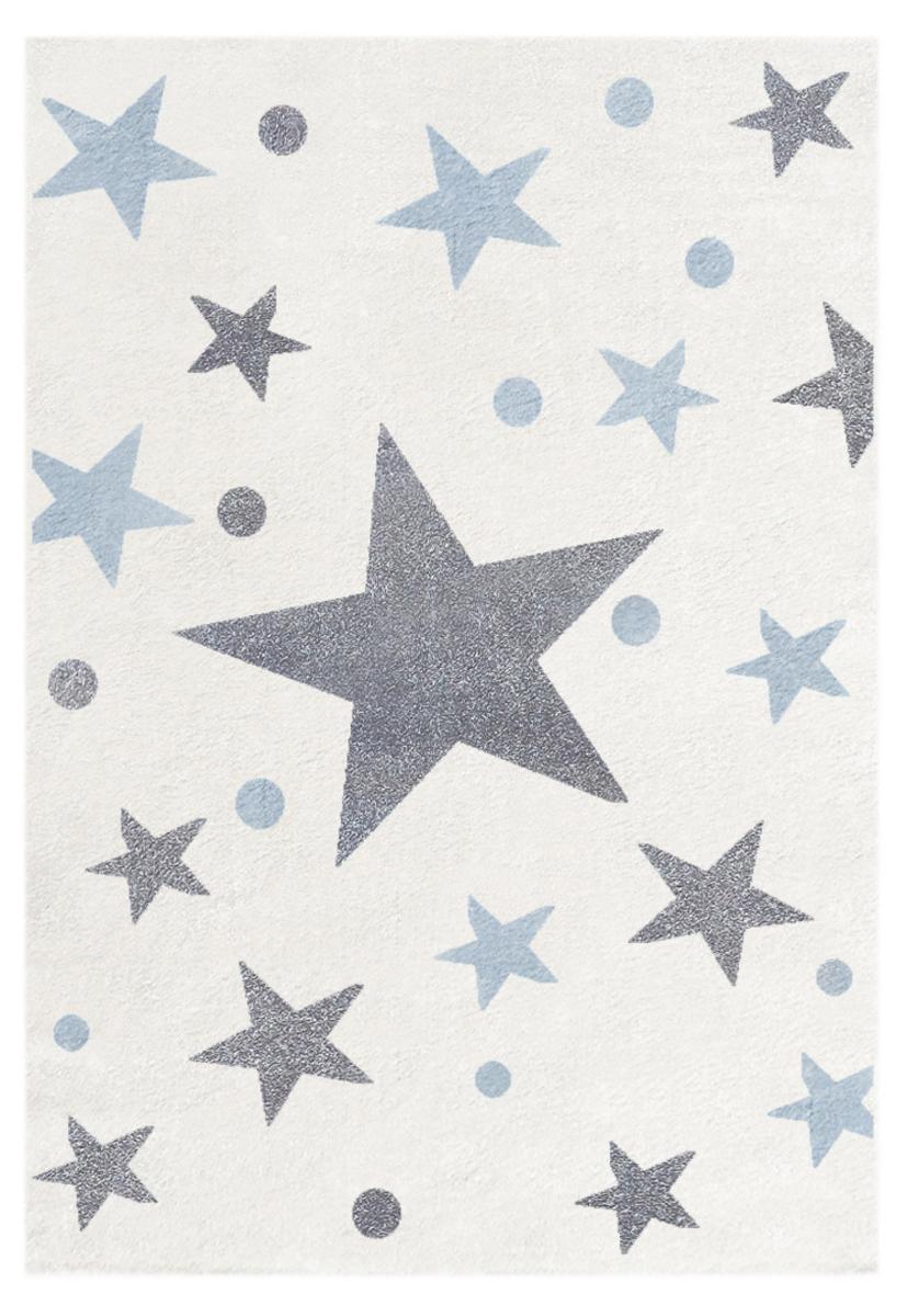 Detský koberec STARS krémovo-modrý 160 x 230 cm