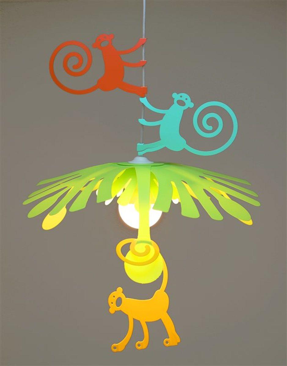 Detská lampa - opičky ružová