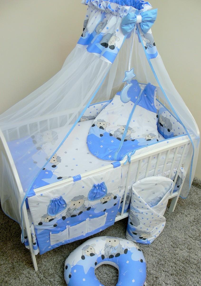 Sada obliečok do postieľky - ovečky - modrá 120x90 cm dojčiaci vankúšik