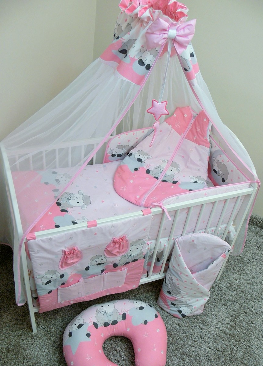 Sada obliečok do postieľky - ovečky - ružová 120x90 cm dojčiaci vankúšik