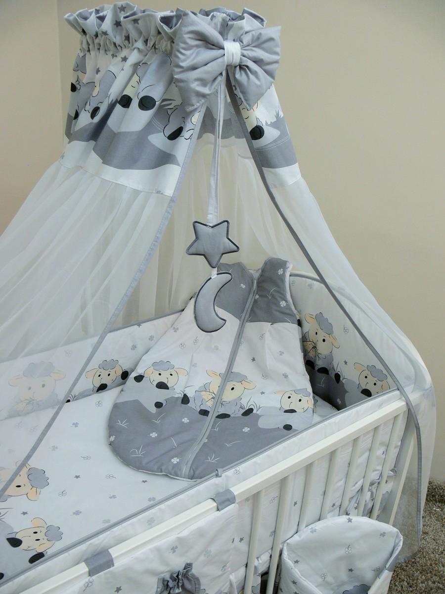 Sada obliečok do postieľky - ovečky - sivá 135x100 cm dojčiaci vankúšik