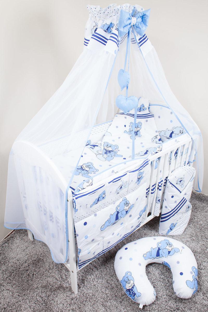 Sada obliečok do postieľky - rojko - modrá 135x100 cm organizér