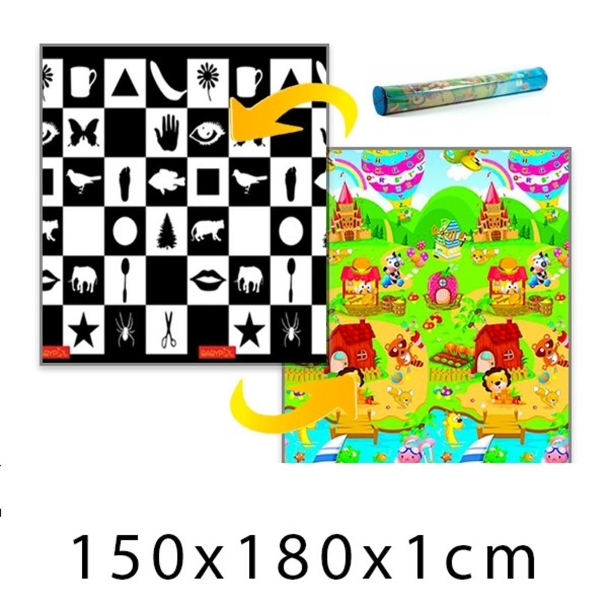 Detský penový koberec - šachovnica + domček leva 150x180x1cm