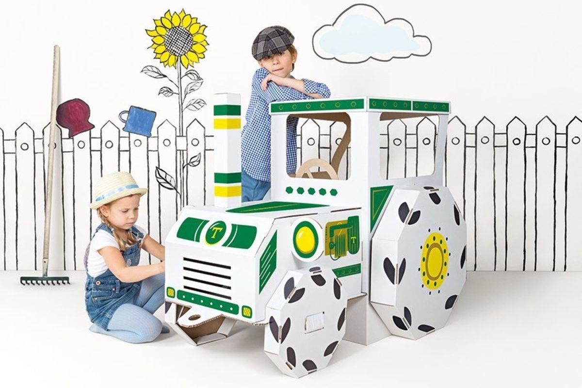 Traktor z kartónu Tractor Ready to Draw