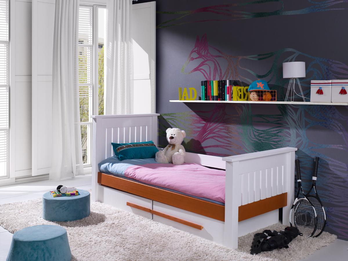 Detská posteľ Karin - biela-koňak 200x90 cm