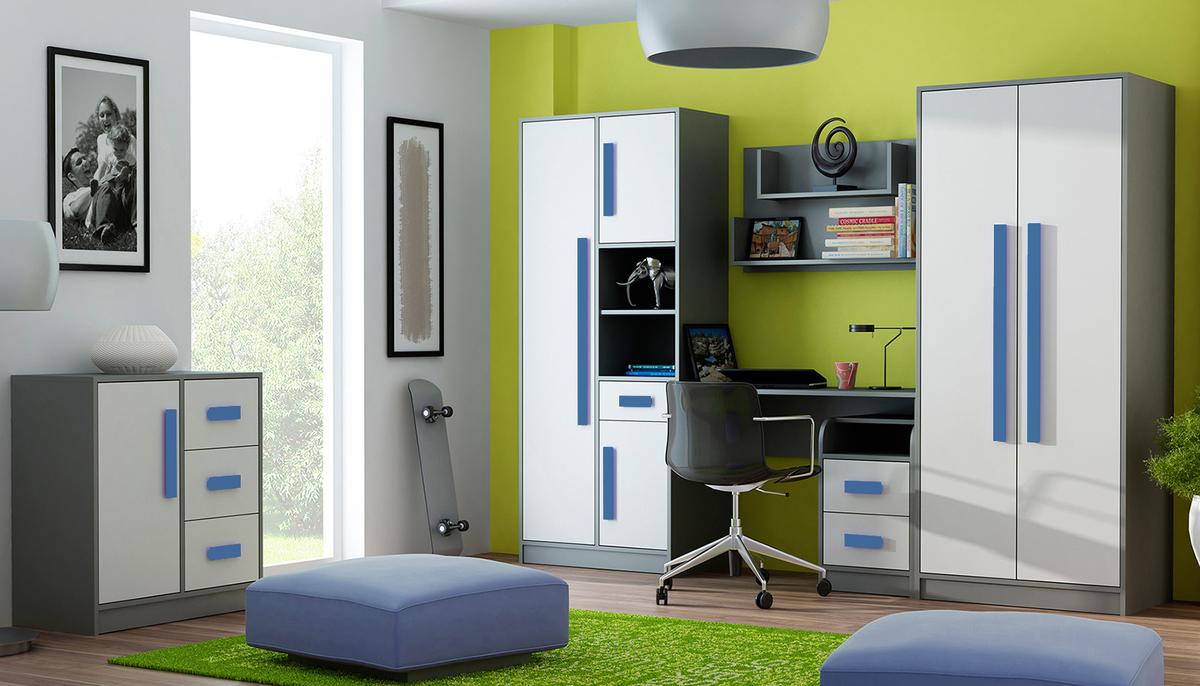 Detská izba GITA - modrá / skriňa 2-dverová /