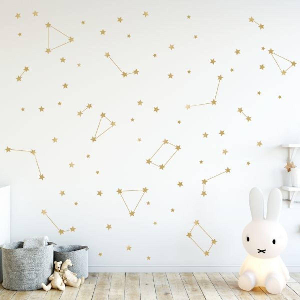 Samolepky na stenu - zlatá hviezdičky ZLATÉ HVIEZDY 60 x 60 cm