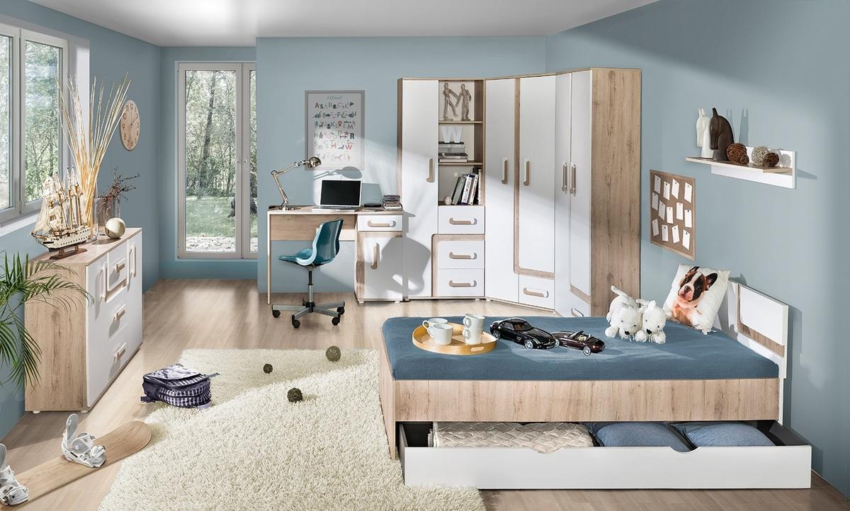 Detská izba APOLO - dub / matrac 200x90x15 cm