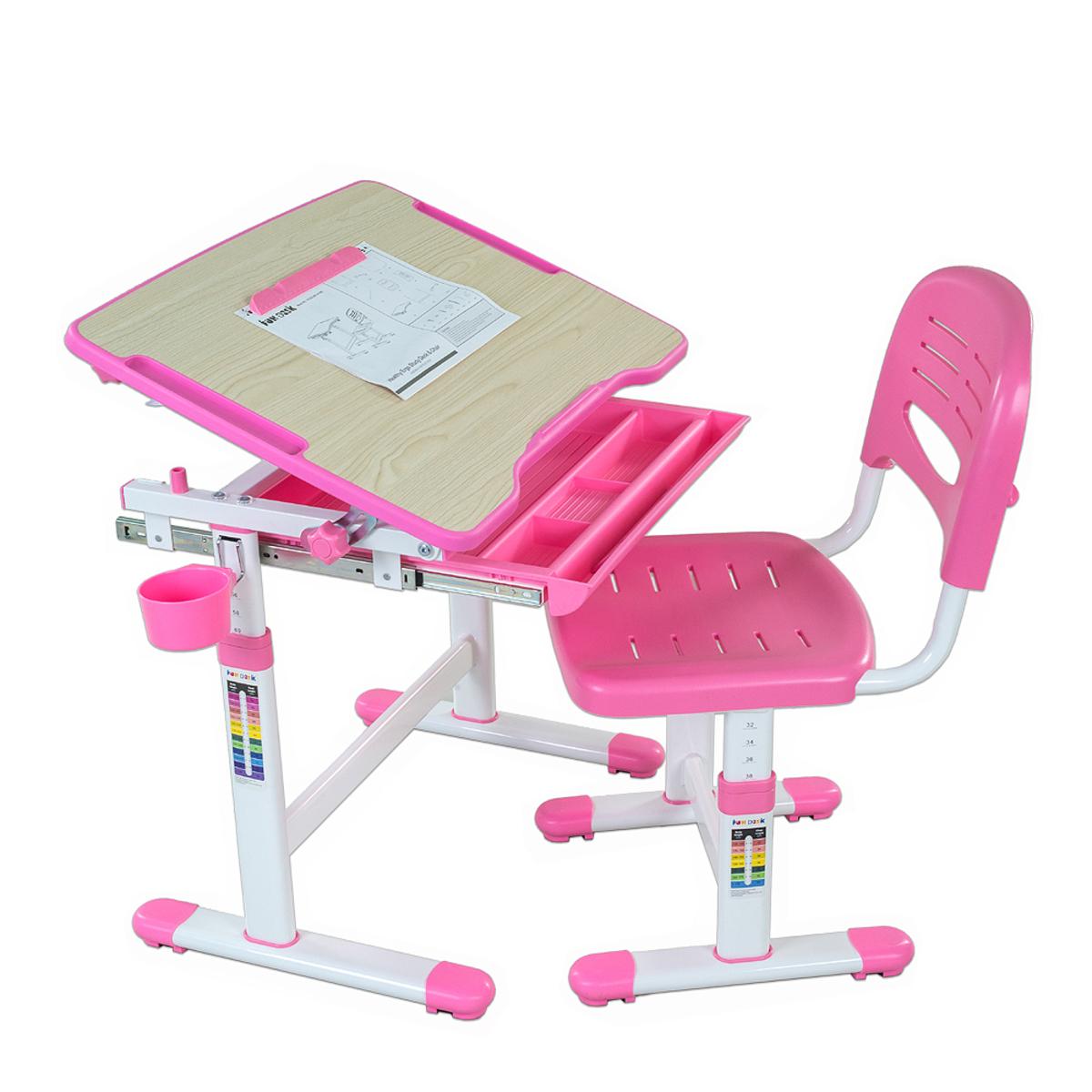 Detský písací stôl + stolička BAMBINO - rôzne farby ružová