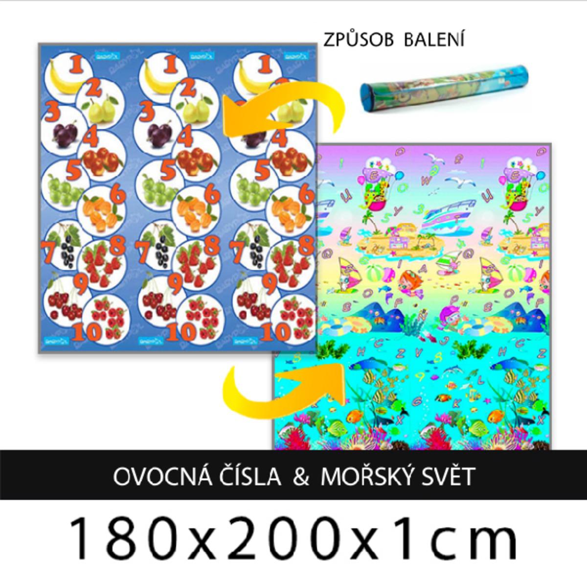 Detský penový koberec - ovocné čísla + morský svet 180x200x1 cm