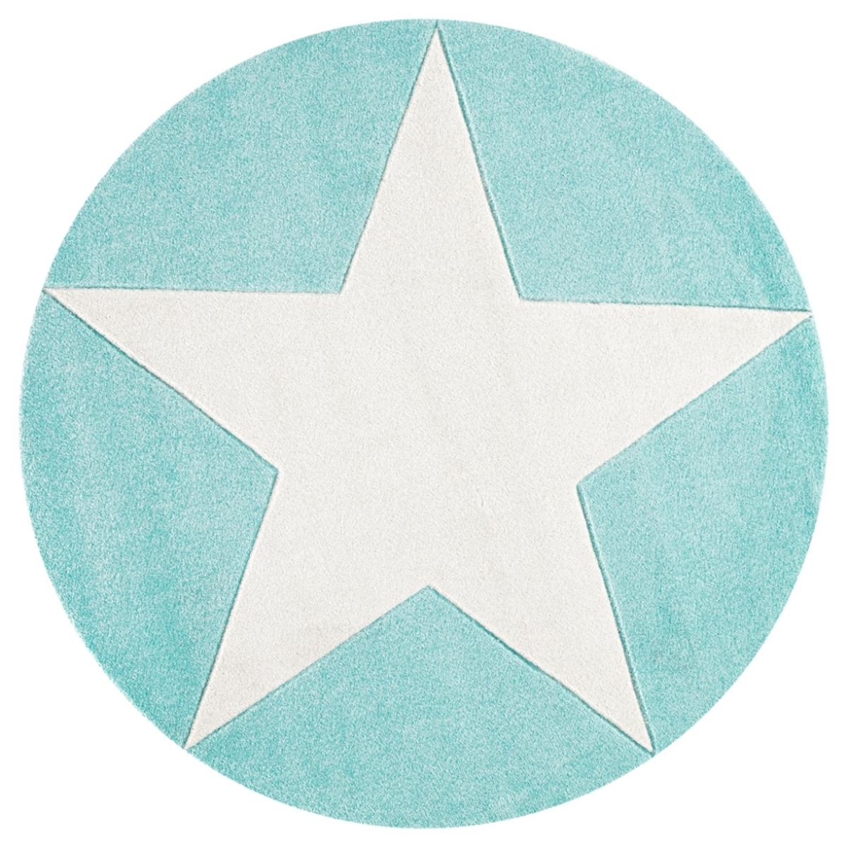 Detský okrúhly koberec STARS mätovozelený-biely priemer 133 cm