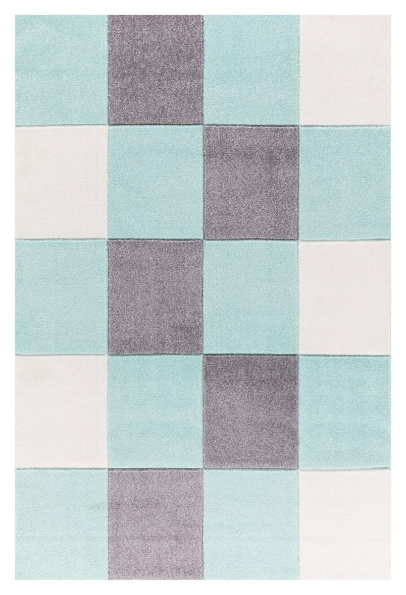Detský koberec - štvorce - mätový 120 x 180 cm