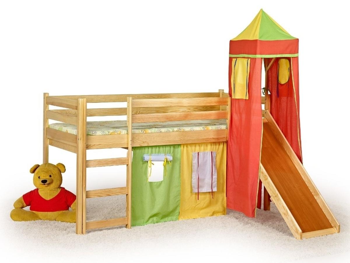 Detská posteľ so šmykľavkou FLO jelša