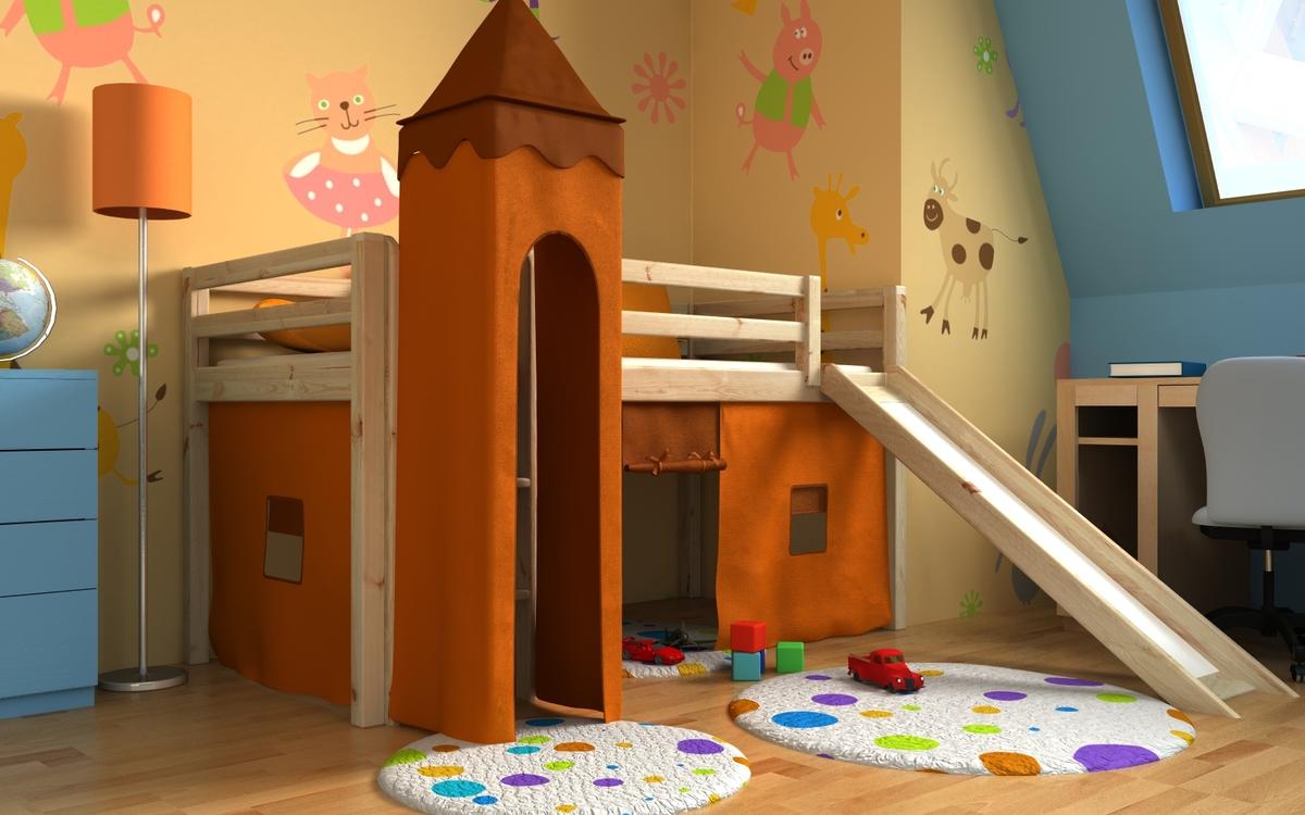 Detská vyvýšená posteľ GABI s vežou a šmykľavkou - borovica Posteľ + veža + domček 2011