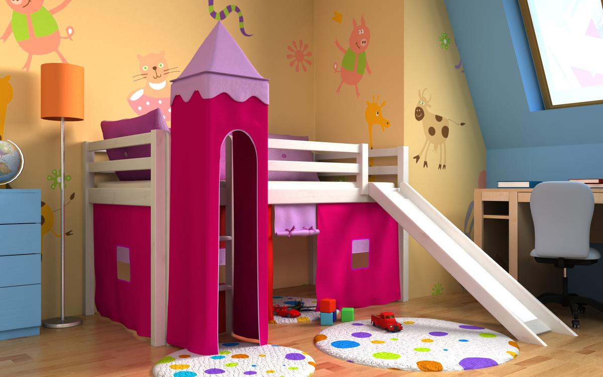 Detská vyvýšená posteľ GABI s vežou a šmykľavkou - biela Posteľ + veža + domček 2011