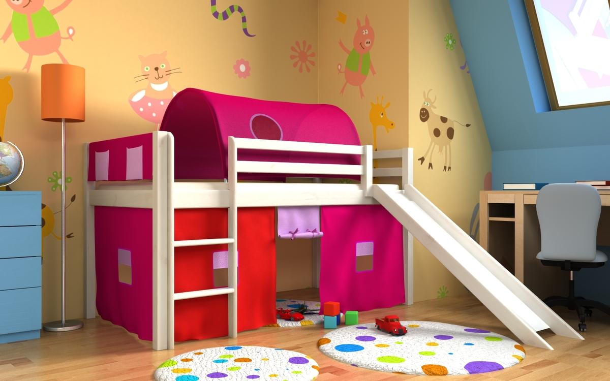 Vyvýšená posteľ GABI so šmykľavkou, tunelom a textilným vreckárom - biela Posteľ + tunel s vreckárom + domček 2011