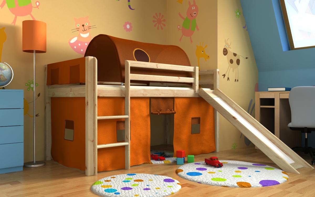 Vyvýšená posteľ GABI so šmykľavkou, tunelom a textilným vreckárom - borovica Posteľ + tunel s vreckárom + domček 2011