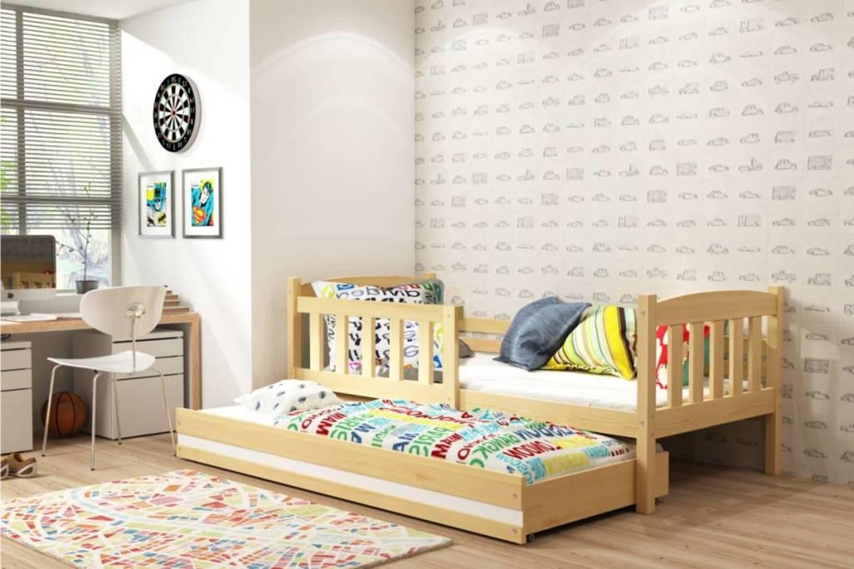 Detská posteľ s prístelkou EXCLUSIVE - prírodná a biely detail 200x90