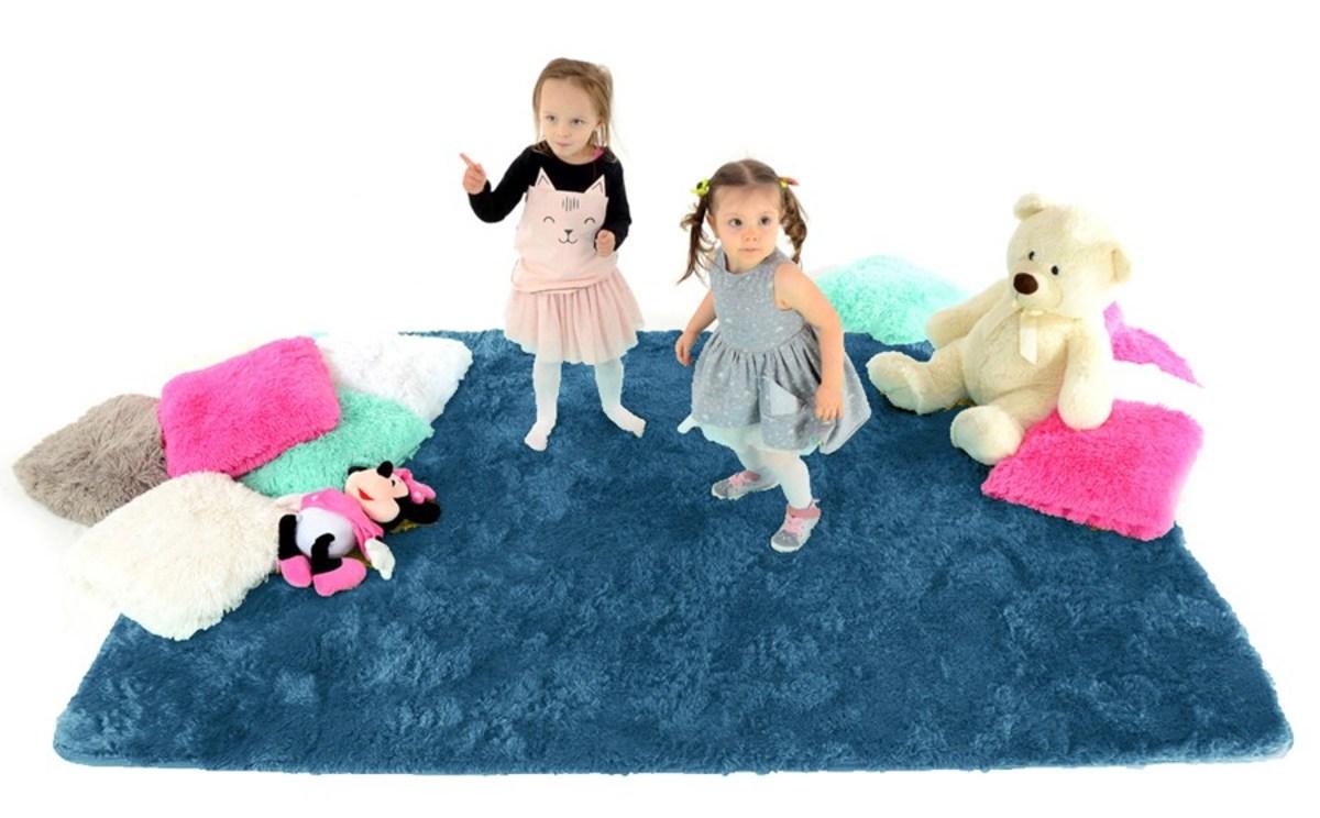 Detský plyšový koberec - modrý 140 x 200 cm