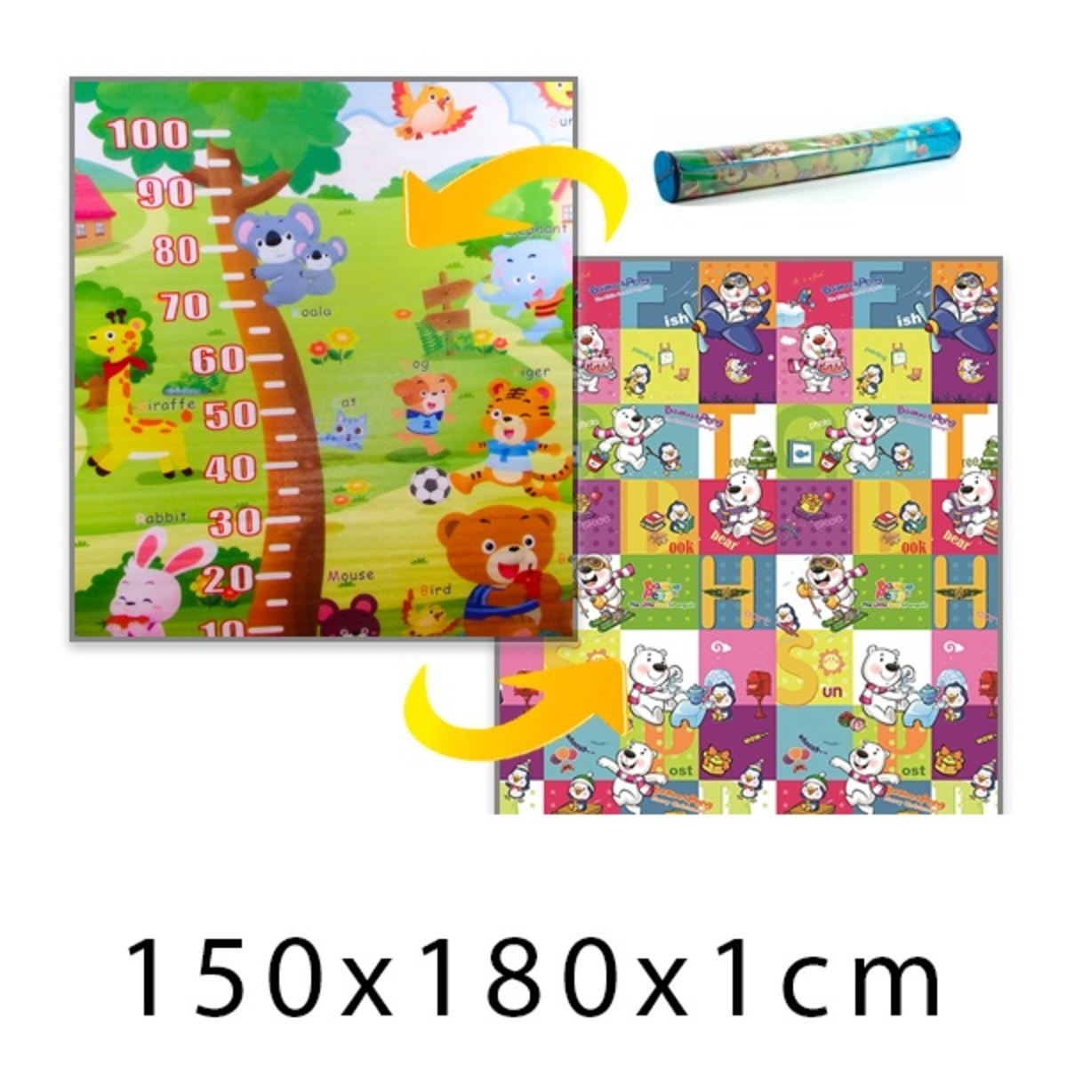 Detský penový koberec - piknik + medvedíky