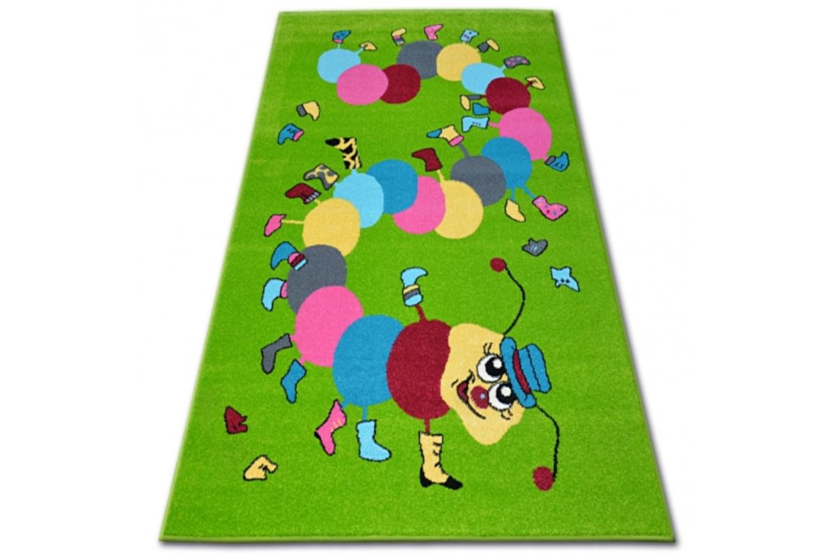 Detský koberec FUNKY TOP húsenica - zelený 160 x 220 cm