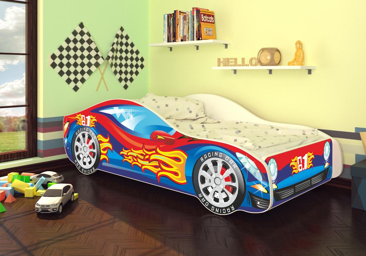 OURBABY detská posteľ Autíčko - červeno-modré + matrac zadarmo Car