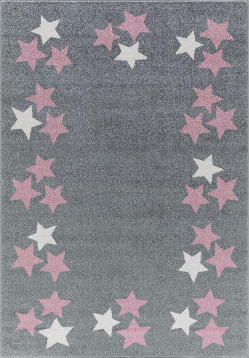 Detský koberec BORDERSTAR - šedo-ružový 160 x 230 cm hviezdičky