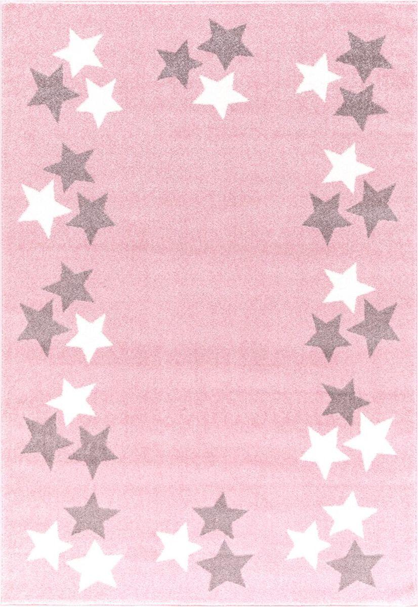 Detský koberec BORDERSTAR - ružovo-šedý 160 x 230 cm hviezdičky