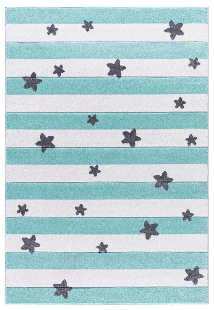 Detský koberec STARS STRIPES - mätový 120 x 180 cm hviezdičky