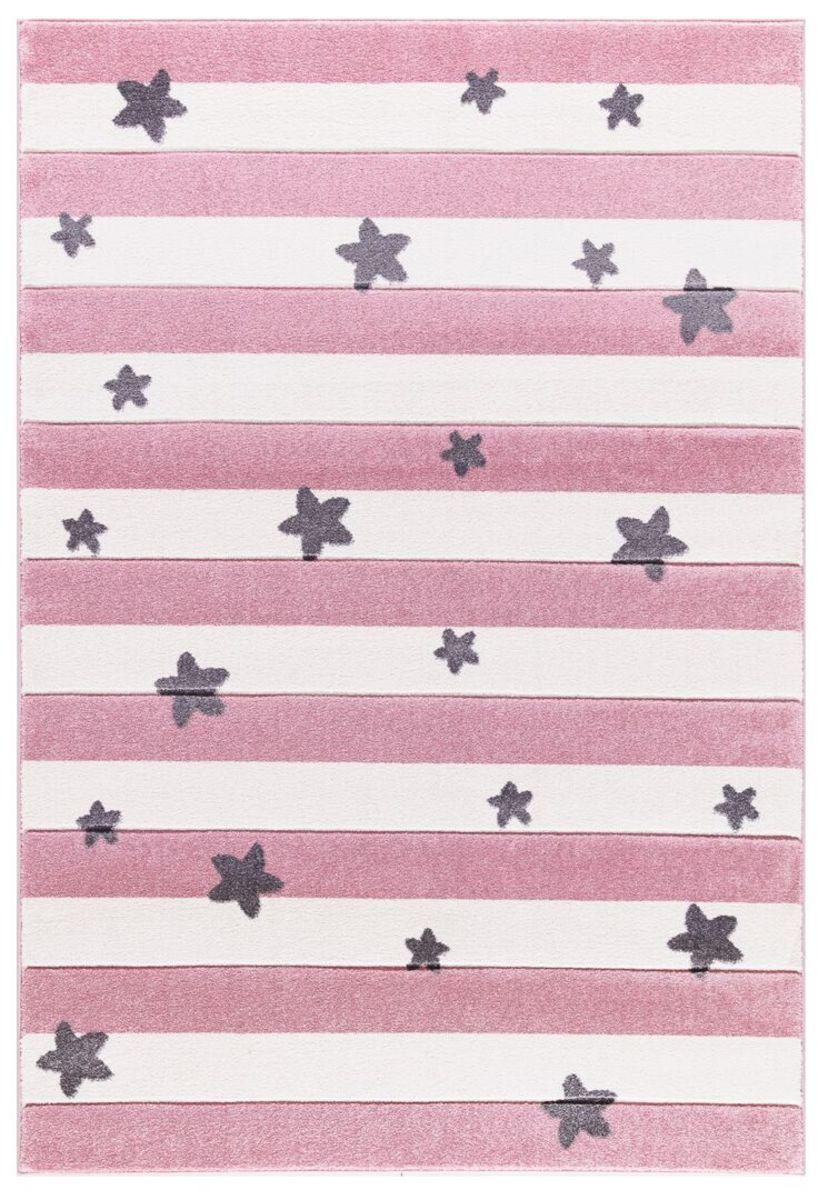 Detský koberec STARS STRIPES - ružový 120 x 180 cm hviezdičky